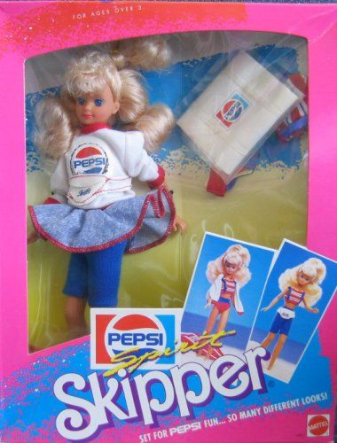 "Barbie Pepsi Spirit SKIPPER Doll - Set for PEPSI Fun... So Many Different Looks (1989 Mattel Hawthorne). Pepsi Spirit Skipper is a 1989 Mattel Production doll. Pepsi Spirit Skipper has many looks; dressed for Spirit Fun + set for any scene! Pepsi Spirit Skipper Always Lookin' Great!. Contents: 9.5"" Skipper Doll w/blond hair & blue eyes, a pair of blue Bike Pants, a white w/red trim Sweatshirt w/Pepsi Decal on front, a blue Skirt w/red thread trim at hem, a white Bag w/Pepsi Decal on front…"
