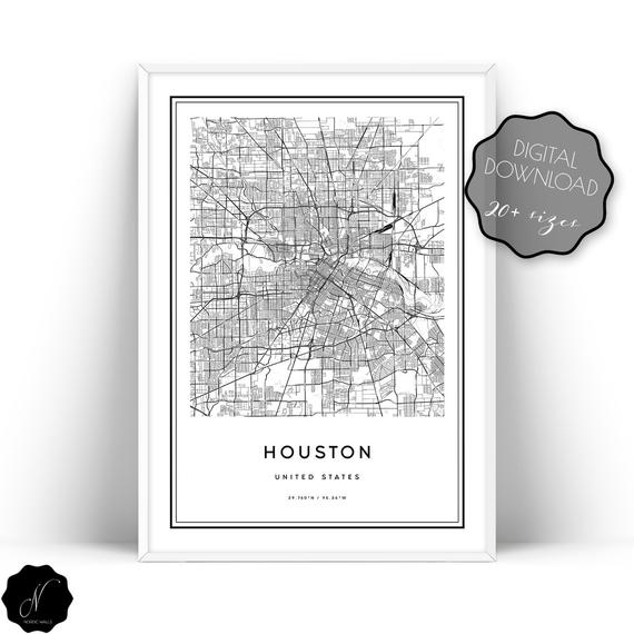 Houston Map Print Map Of Houston Wall Art Prints Houston City