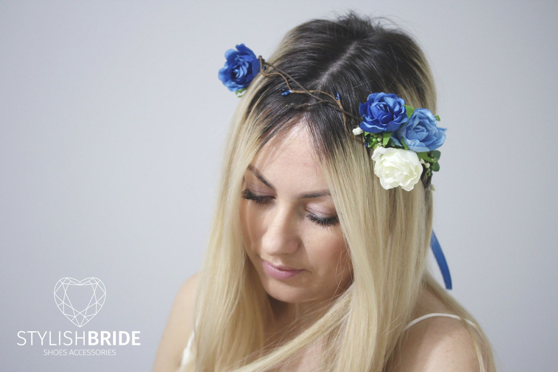 Bridal Blue Roses Hair Piece, Wedding Hair Vine, Rustic Wedding Hair ...