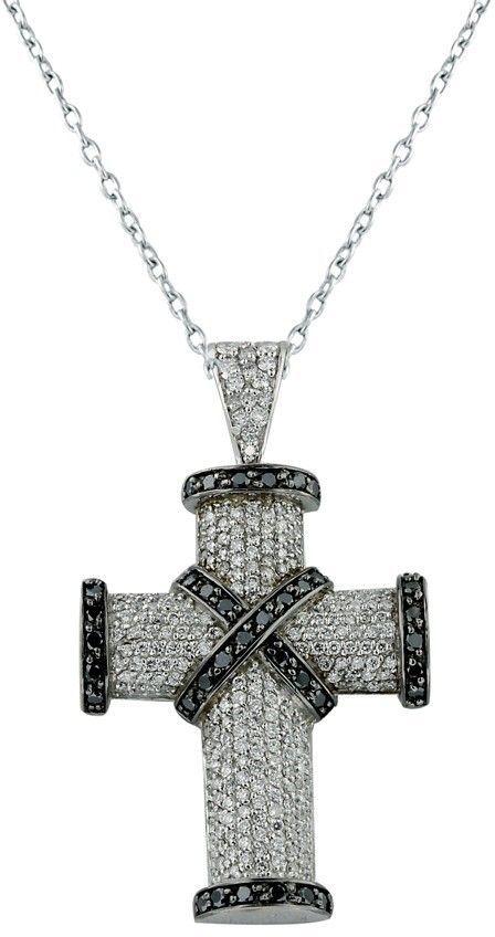 dd00349e6d1f 18K White Gold Black   White Diamond Cross Pendant