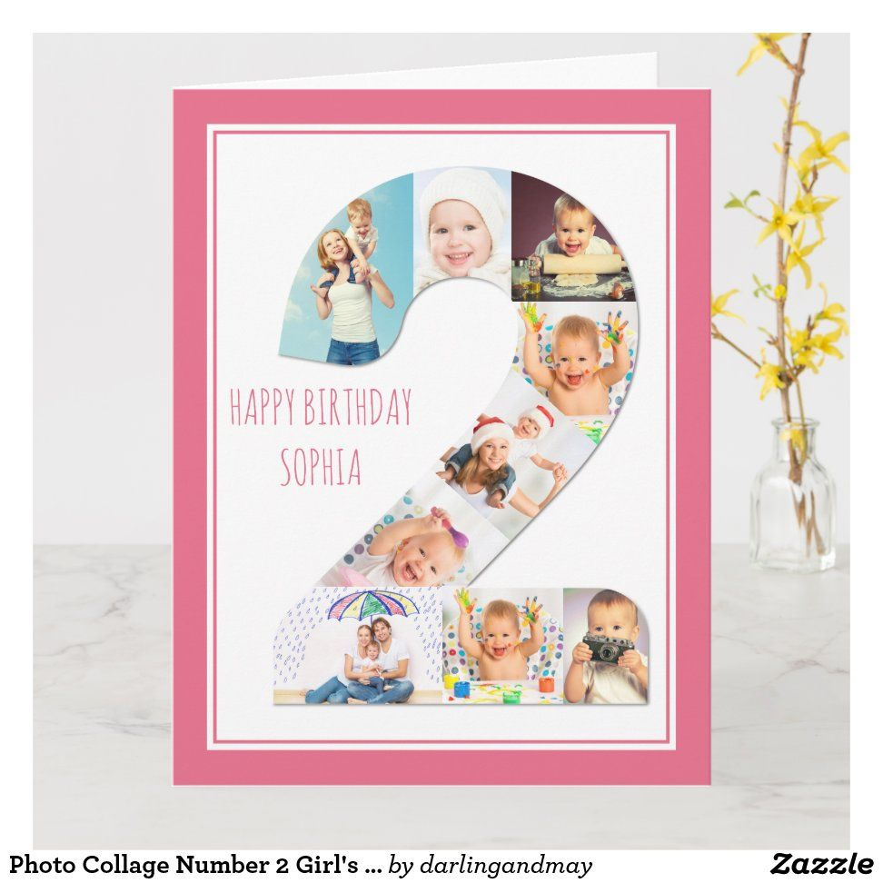 Photo Collage Number 2 Girl S 2nd Birthday Card Zazzle Com Girl 2nd Birthday Photo Collage 2nd Birthday Photos