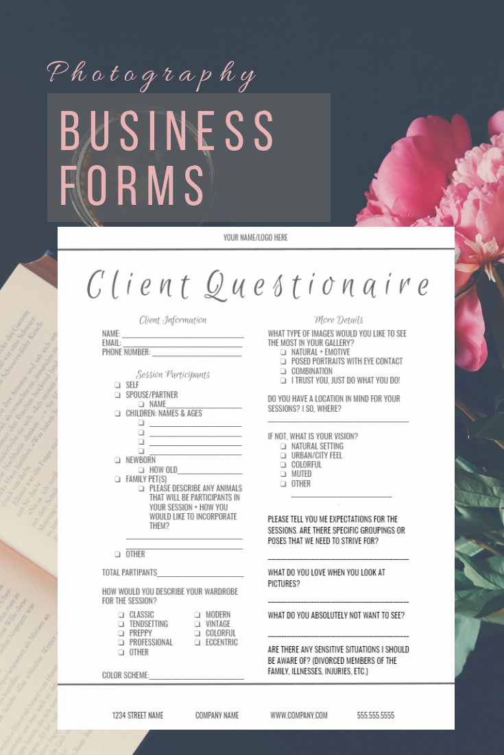 Need forms for your Photography Business? Look no more! #PhotoshopForBeginnersPhotographs