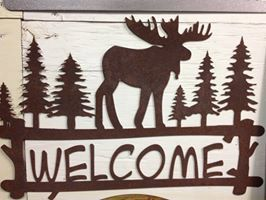 Metal Moose Scene Welcome Sign by MarriedToTheMetal on Etsy