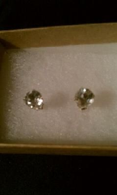 NEW 2 CARAT STERLING SILVER CLEAR TOPAZ STUDS - FREE SHIPPING/PHOTON$