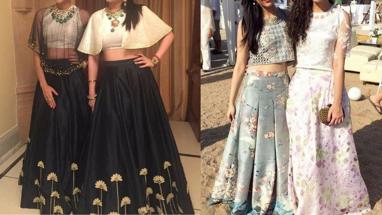 Party wear long skirts with crop top indo western long skirt with