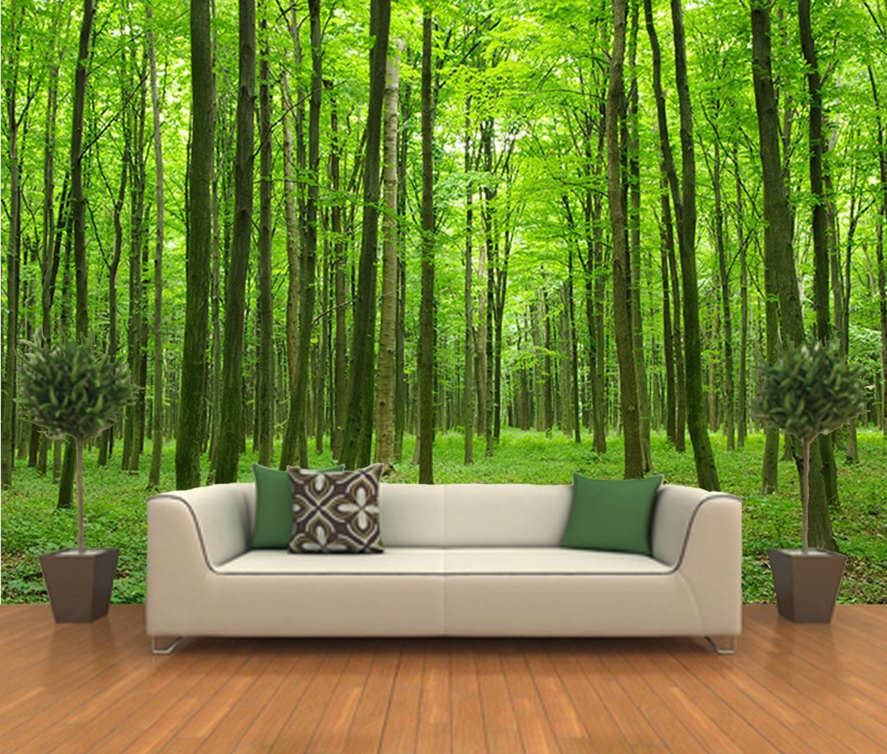 Peel and stick photo wall mural decor wallpapers forest for Mural wallpaper