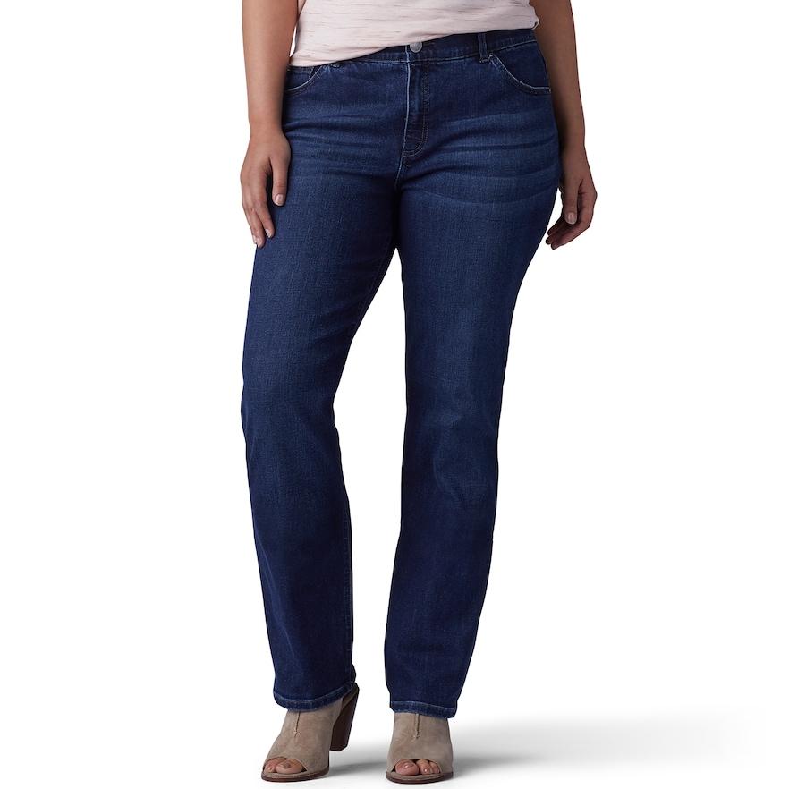 LEE Womens Plus Size Flex Motion Regular Fit Straight Leg Jean