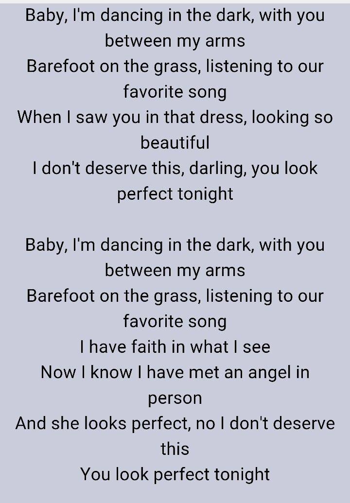 Ed Sheeran Perfect Parole : sheeran, perfect, parole, Perfect