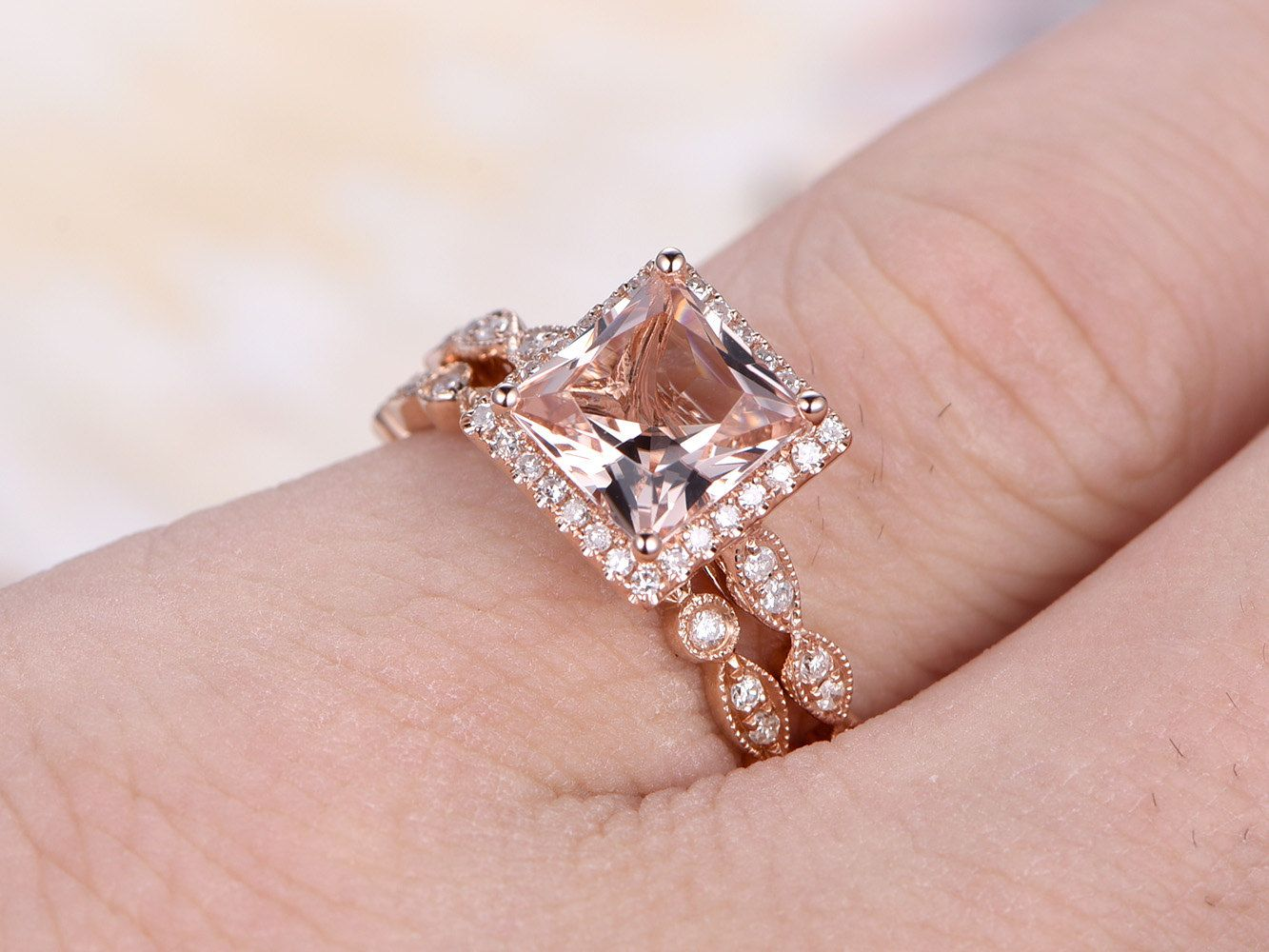 2pcs Wedding Ring Set,Natural Pink Morganite Ring,6.5mm Princess Cut ...