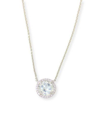 Frederic Sage Round White Topaz & Diamond Halo Necklace QgueqA