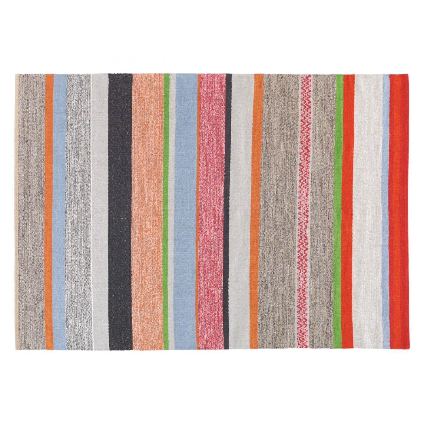 COATES Medium multicoloured stripe cotton rug 140 x 200cm