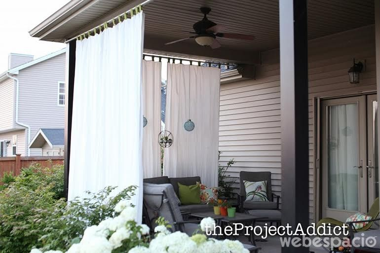 How to make your own diy outdoor curtains and secure them so they ...