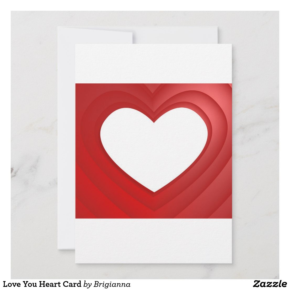 Love You Heart Card Zazzle Com Heart Cards Custom Thank You