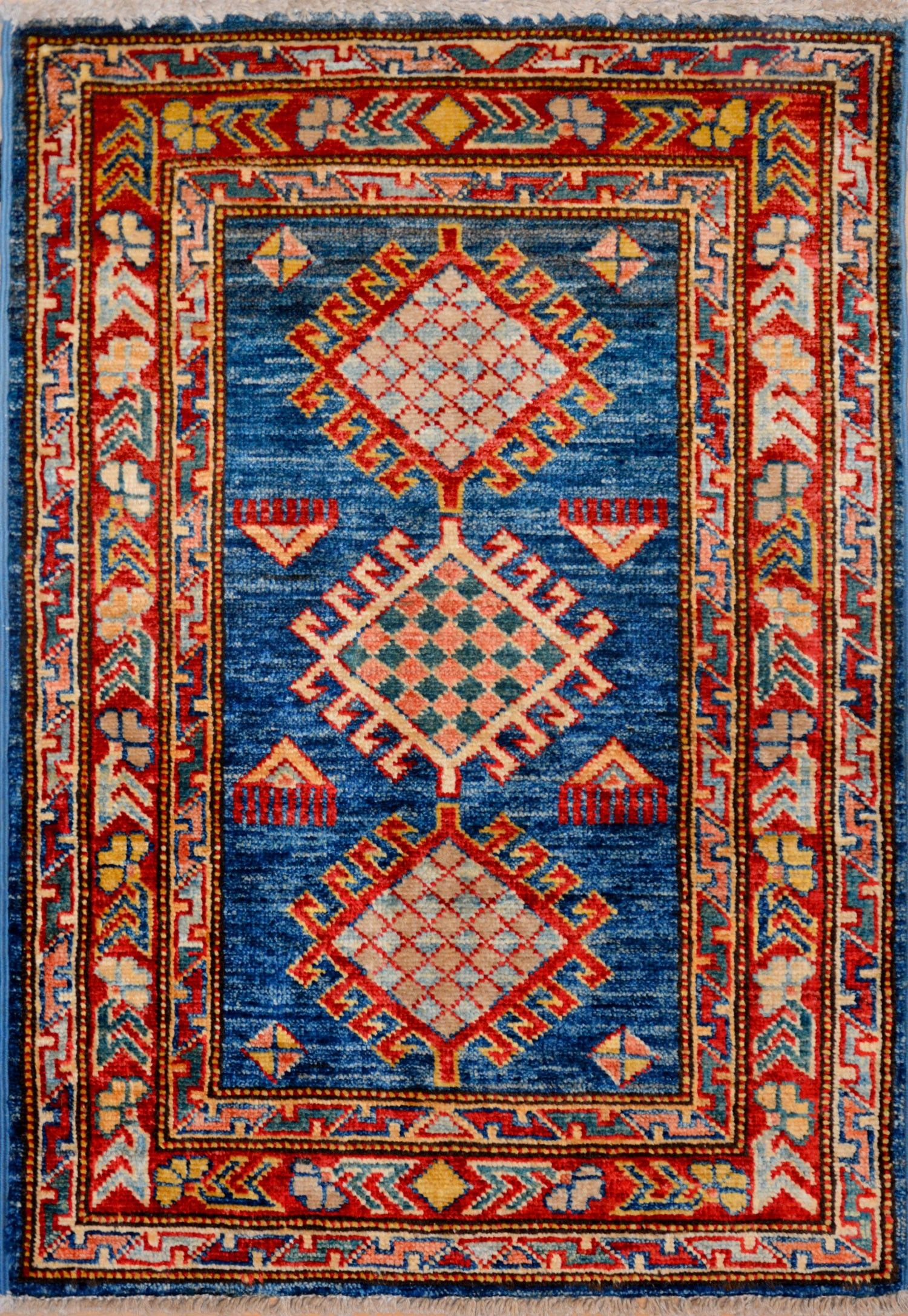 Blue Oriental Kazak Rug 1 11 X 2 9 Ft No 11535 Http Alrug Com Blue Oriental Kazak Rug 1 11 X 2 9 Ft No 11535 Html Rugs Rugs On Carpet Kazak Rug