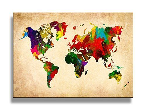 K&N Colorful World Map Wall Art Picture HD Giclee Prints Frame ...