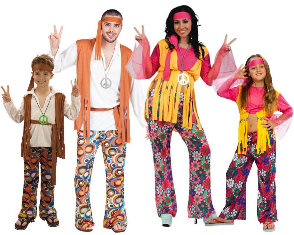 Familia de Hippies disfraces carnaval