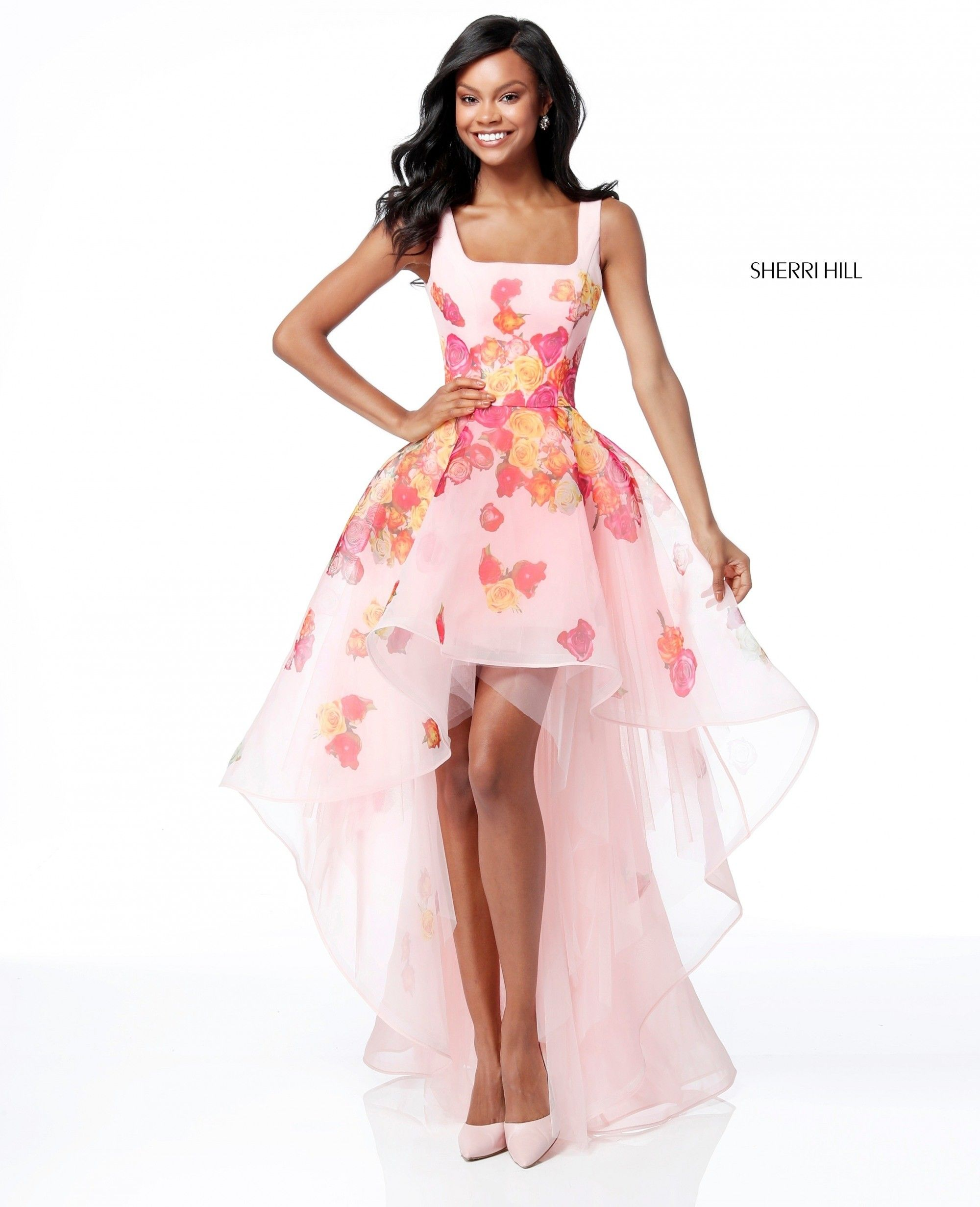8d6ea612718 Make a sweet entrance in Sherri Hill 51684. This delightful hi-lo gown has  a fitted bodice