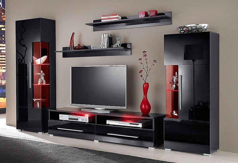 Wohnwand 5 Tlg Lcd Wall Design Wall Tv Unit Design Living Room Tv Unit Designs #wall #cabinet #design #living #room