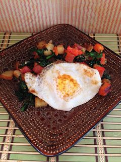 share the stoke :): Sweet potato hash and eggies. 213 calories per serving, savory and healthy!