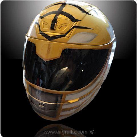 dedo índice léxico Contradicción  White ranger | Custom motorcycle helmets, Motorcycle helmets, Helmet