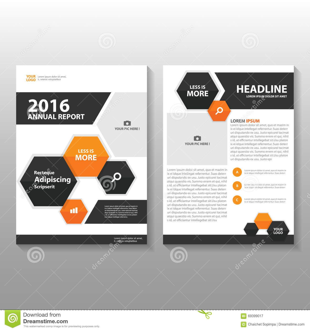 Orange Black Hexagon Vector Annual Report Leaflet Brochure Flyer