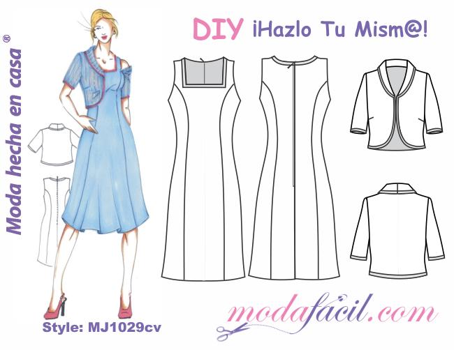 55133025ad Descarga los patrones del Vestido con Chaqueta Torera disponibles en 14  tallas desde la Tallas PETITE hasta las Tallas EXTRAGRANDES