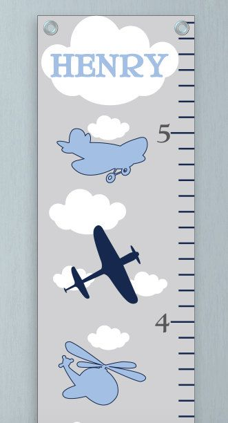 Growth Chart For Boys  Kids Room Wall Decor  Blue Airplanes