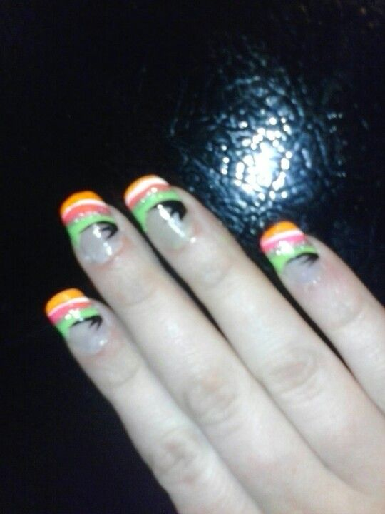Used Salon Perfect Nail Art ( Spring,Orange Flame,Pretty in Pink, White Out) LA Colors Art Deco (Silver Glitter,Black)