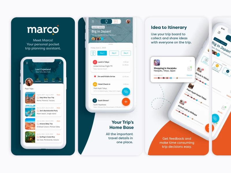 App Store Screenshots For Marco A Startup Travel App App Store Design App Banner Ads Design