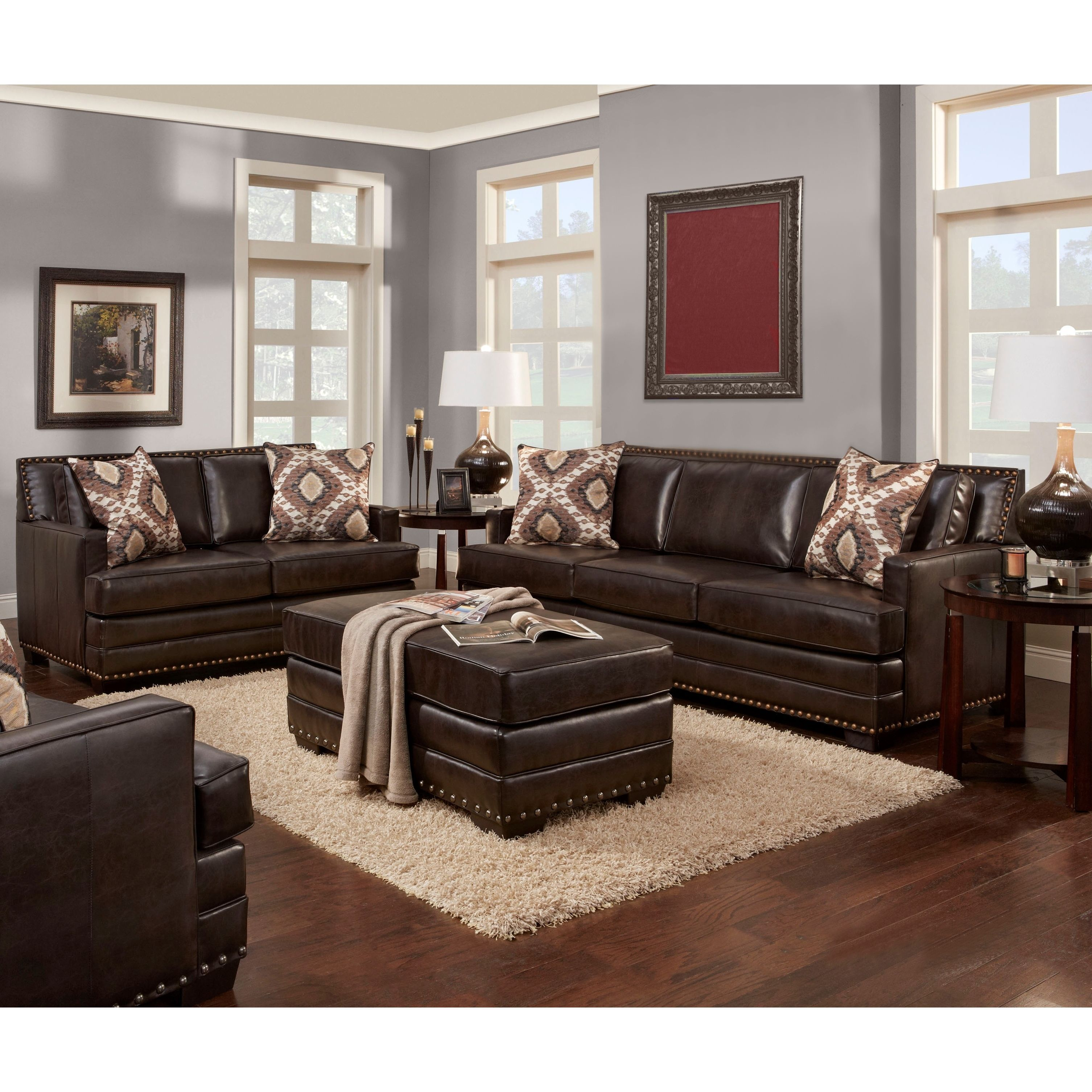 Sofa Trendz Bruce Collection Brown Faux Leather Loveseat And Ottoman Set 3 Pc Sofe Love