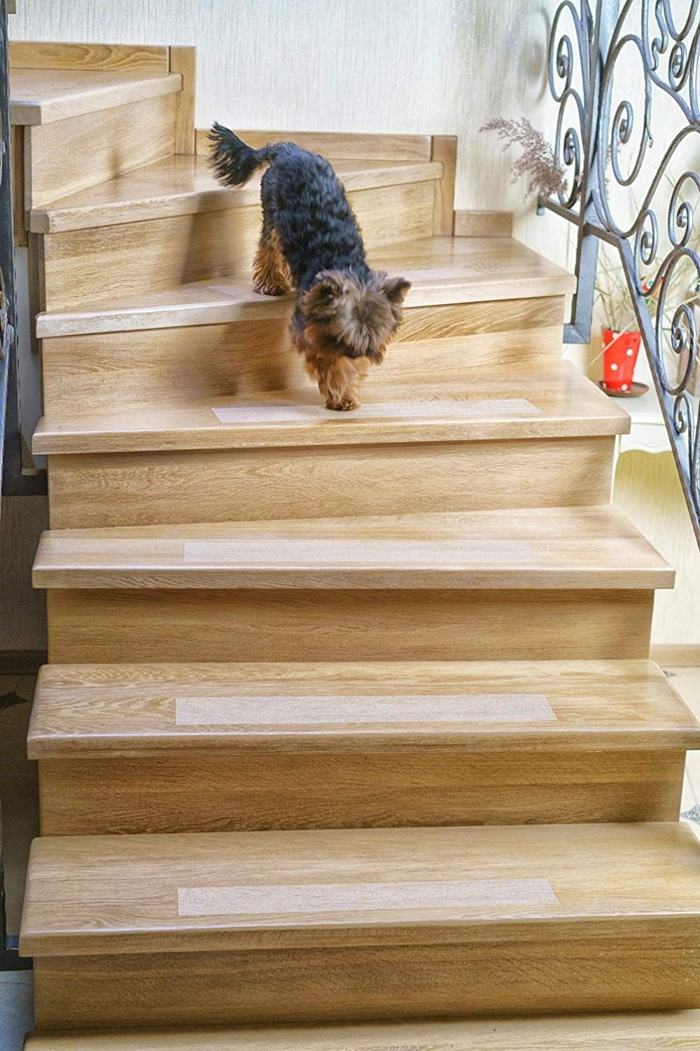 Kenley Non Slip Stair Treads 10 Pack Clear Step Strips 4 X24 | Dog Slipping On Wood Stairs | Steps | Hardwood Floors | Self Adhering | Hardwood | Puppy Treads