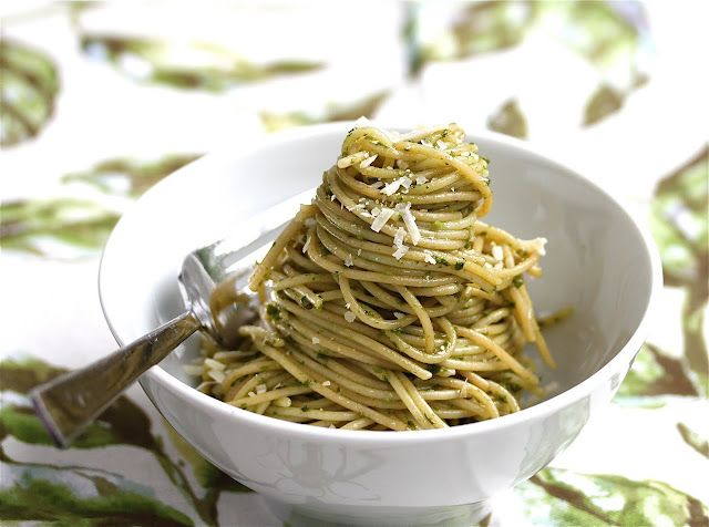 Basil Garlic Scape Pesto and Broccoli with Toasted Garlic Olive Oil