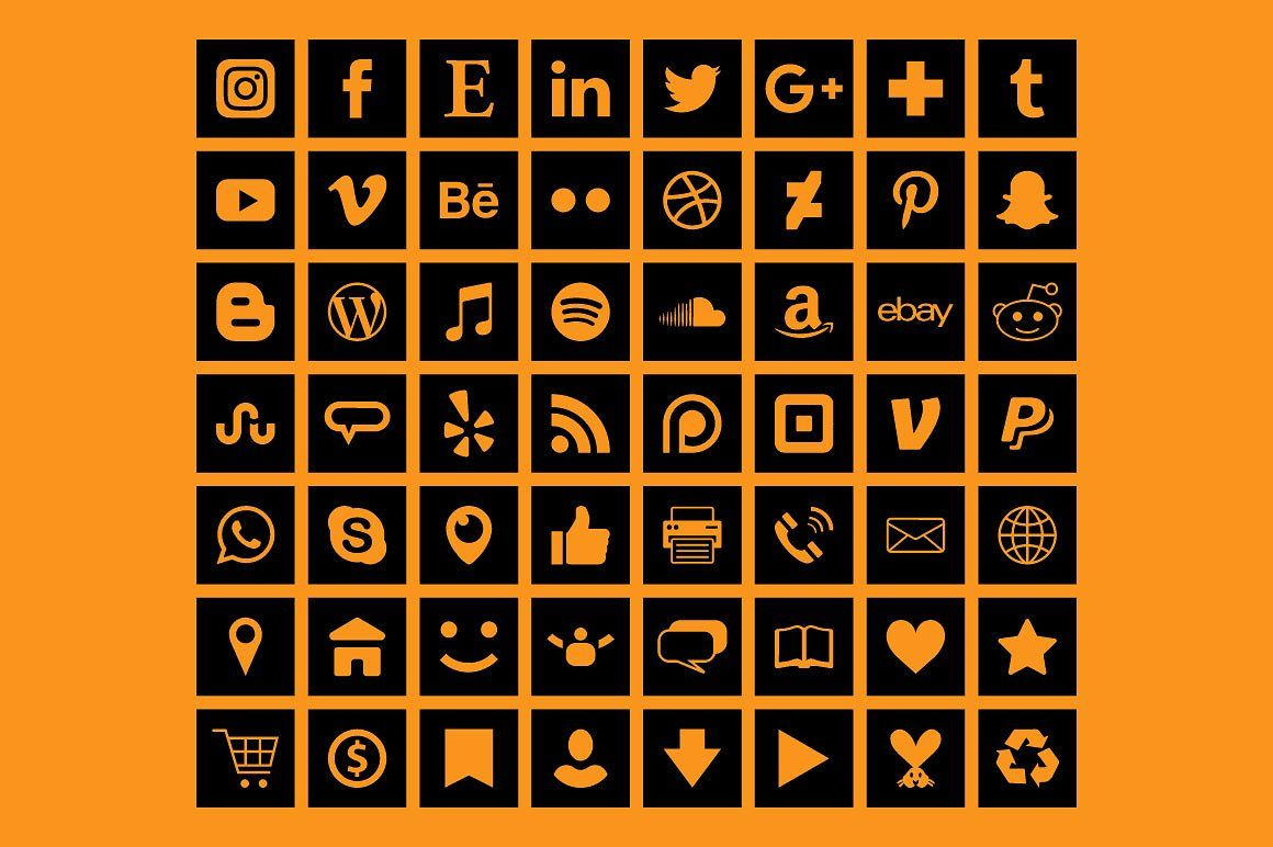 Square Black Social Media Icons Black social media icons