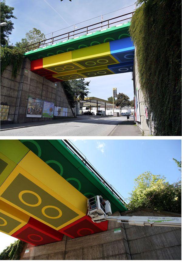 Street Artist 'Megx' Creates Giant Lego Bridge in Germany ( http://www.thisiscolossal.com/2012/07/street-artist-megx-creates-giant-lego-bridge-in-germany/ )