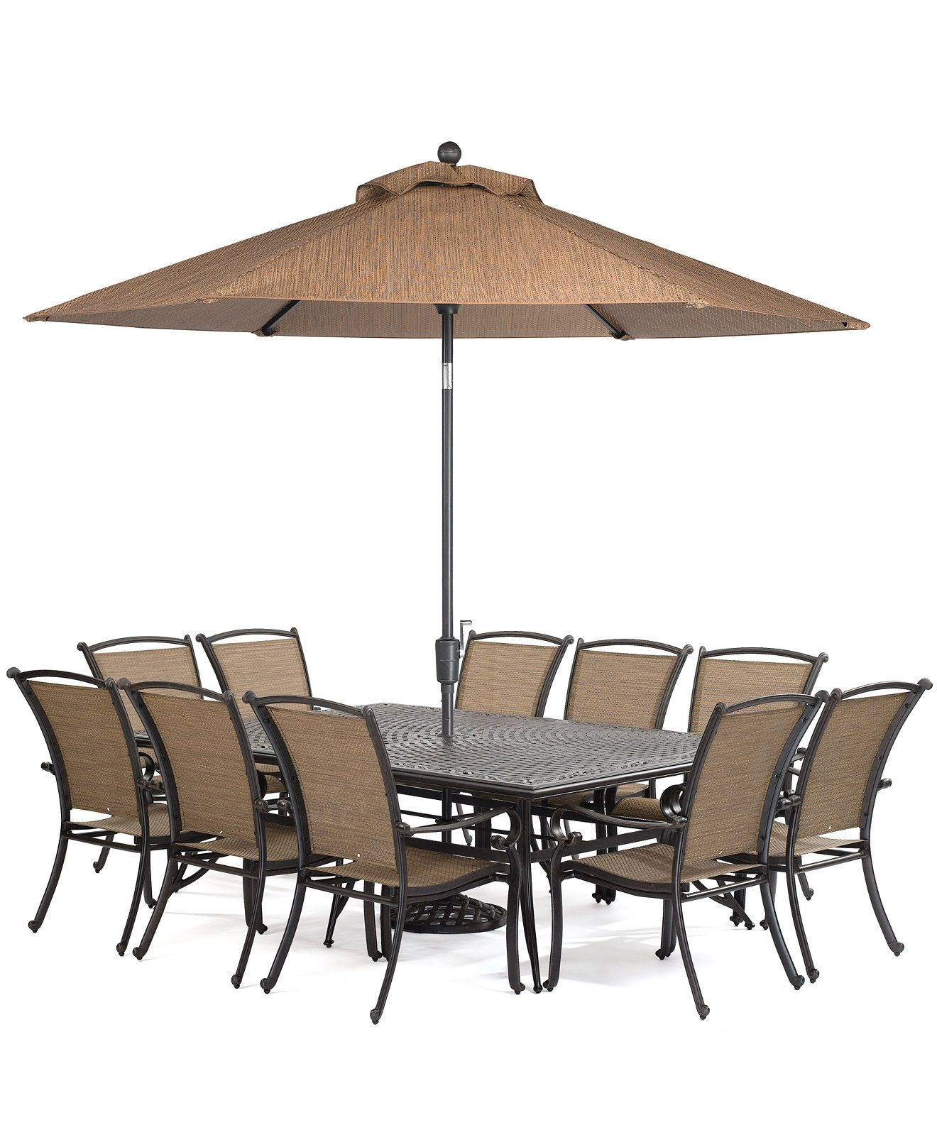 "Paradise Outdoor 11 Piece Set 84"" x 60"" Dining Table and 10"