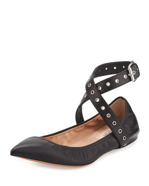 Red Valentino Love Latch Metallic Ankle-Wrap Flat, Nero, Women's, Size: