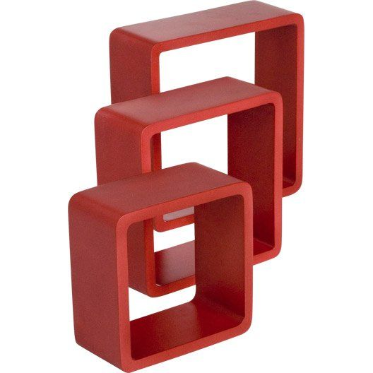 3 étagères Cubes Rouge Rouge N 3 Color Spaceo L28xp28cm