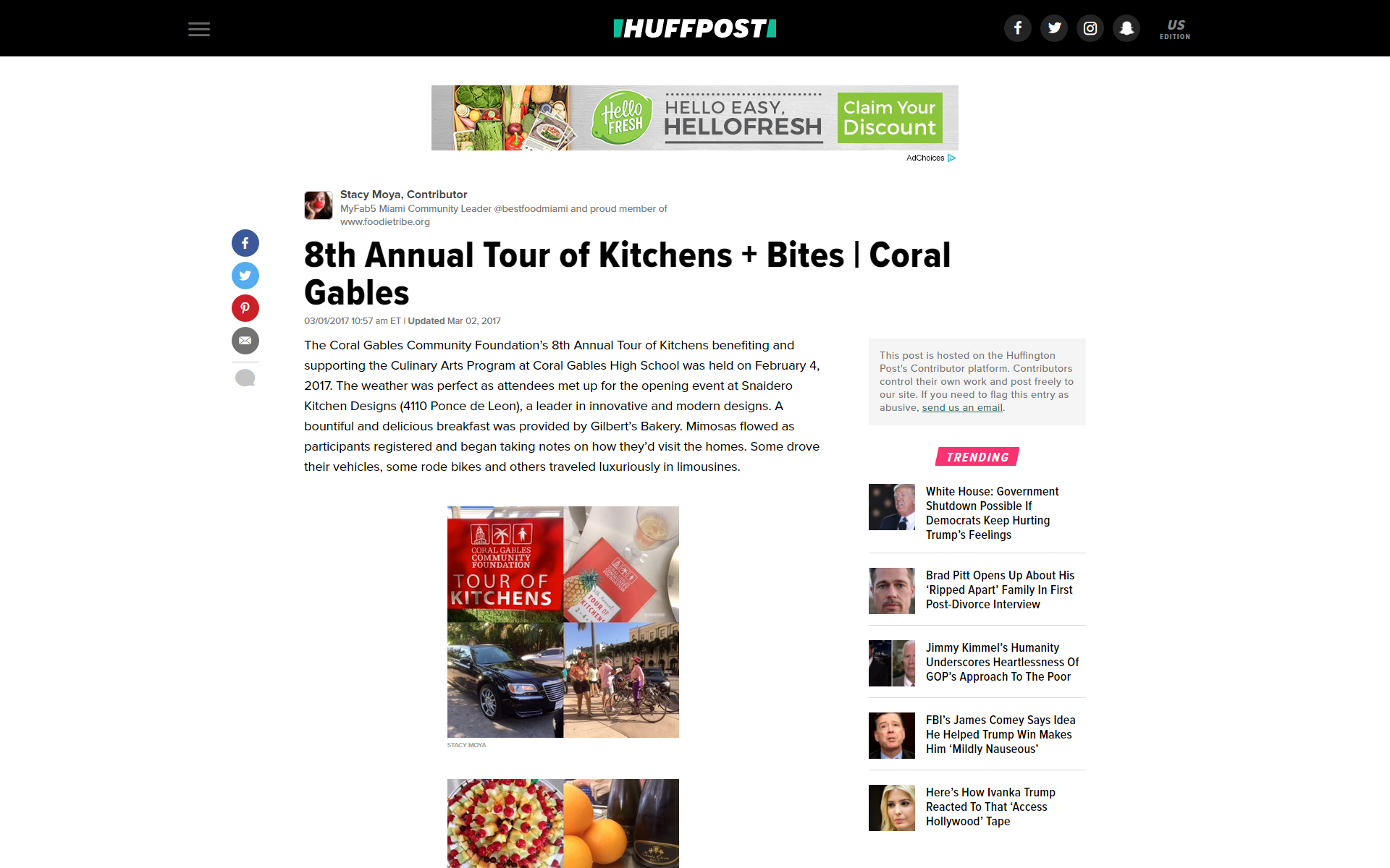2017 Huffington Post / Huffpost | 8th Annual Tour of Kitchens event + Bites | Coral Gables  | Click on pin to read article |  #SnaideroUSA