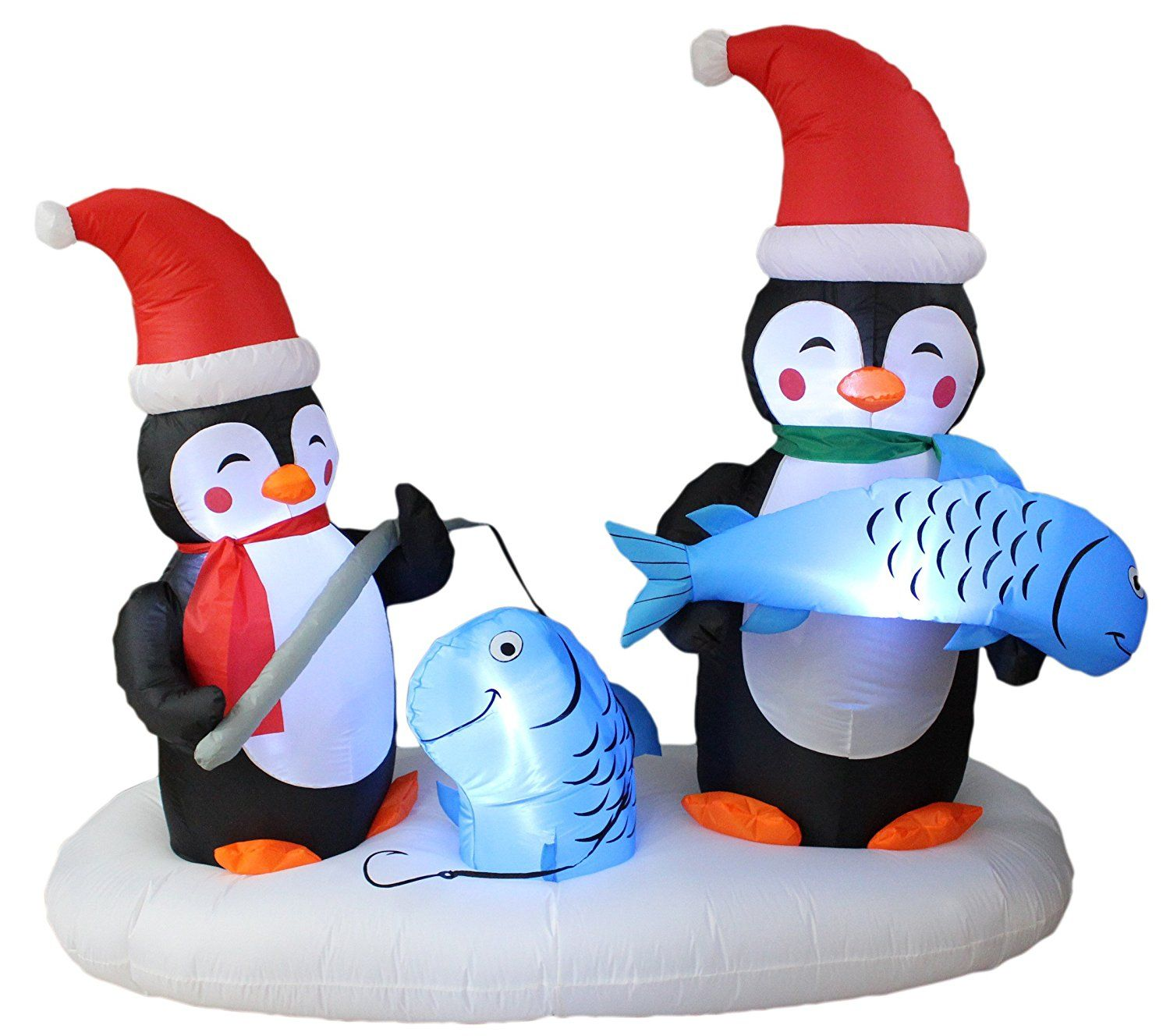 6 Foot Long Lighted Christmas Inflatable Two Penguins Happy Fishing ...