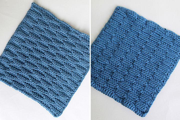 Wave Stitch (anverso y reverso), Square 8 de 10 para el crochet ...