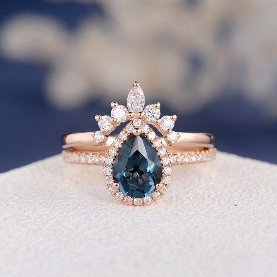 London blue topaz engagement ring pear shape engagement ring women 14k gold vintage birthstone wedding Antique Bridal gift for her