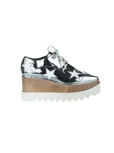 STELLA MCCARTNEY Stella Mccartney Silver Wedge Elyse Indium With Stars. #stellamccartney #shoes #stella-mccartney-silver-wedge-elyse-indium-stars