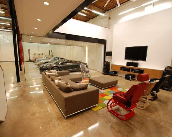 Decor · Amazing Car Showroom Design with Living Room: Amazing The Car Cave  Garage Design With Media