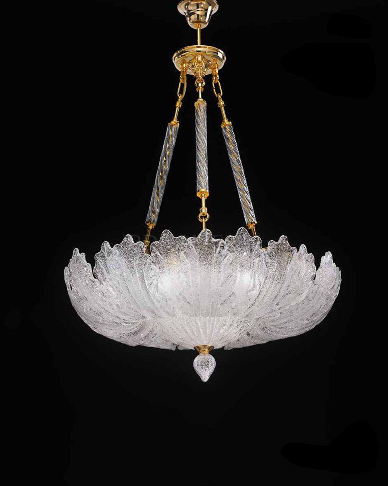 玻璃吊灯 意大利穆拉诺岛玻璃 手工吹制,露水纹表层 508/SPF24露水纹玻璃