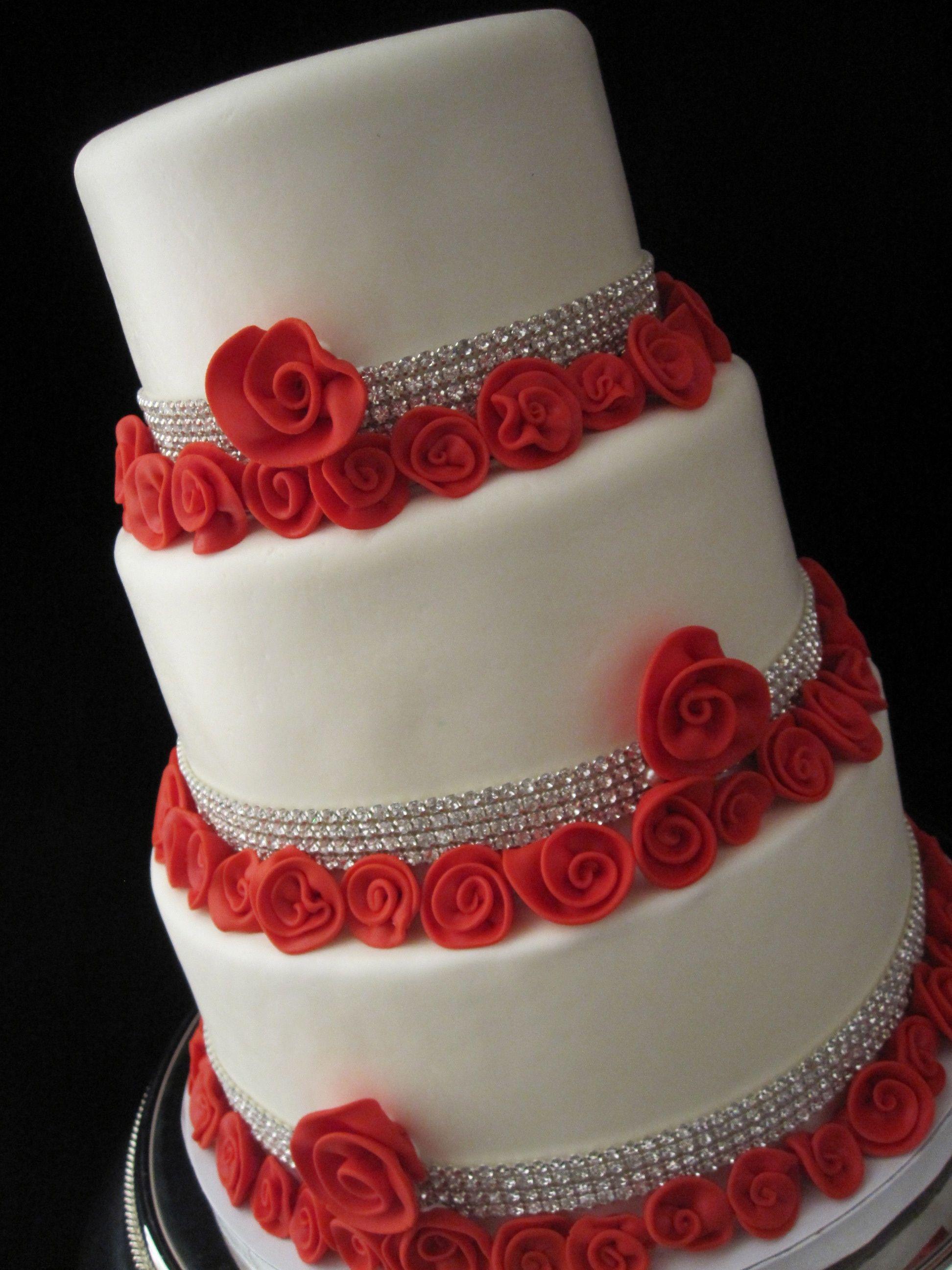 White wedding cake red roses with rhinestones lexington kentucky white wedding cake red roses with rhinestones lexington kentucky junglespirit Gallery