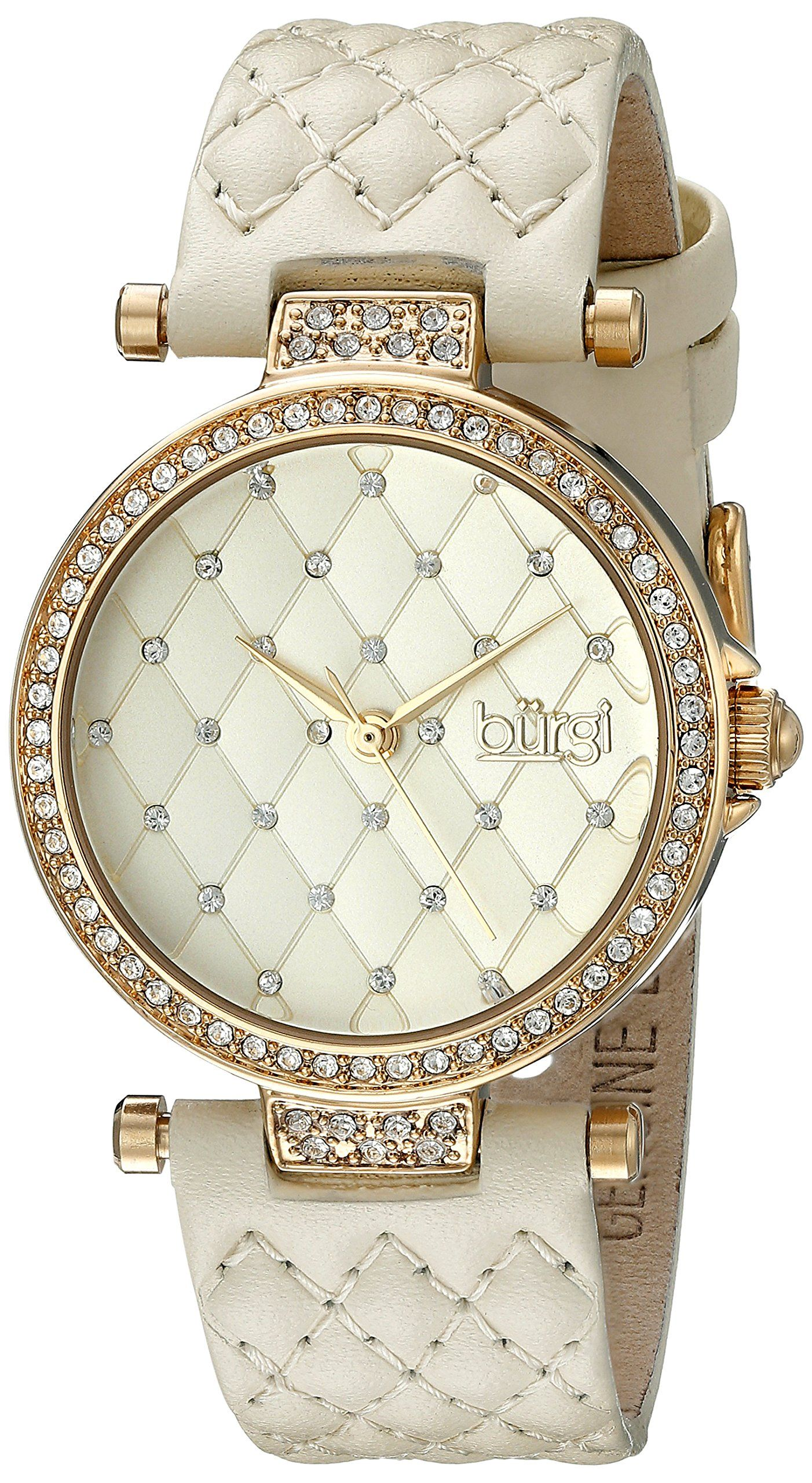 Burgi Women's BUR154 Gold-Tone Swarovski Crystal Watch With Quilted Band.