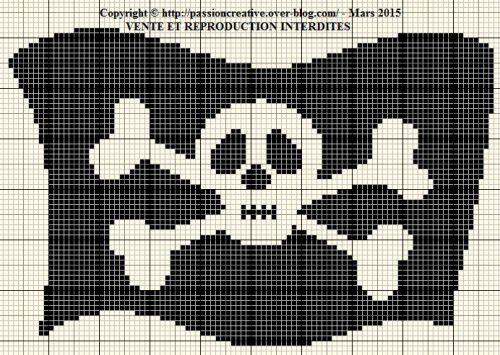 Grille gratuite point de croix drapeau de pirate point de croix pinterest pirates - Veronique enginger grille gratuite ...