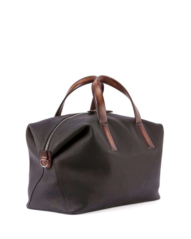 Horizon Grain Leather Duffel Bag, Black