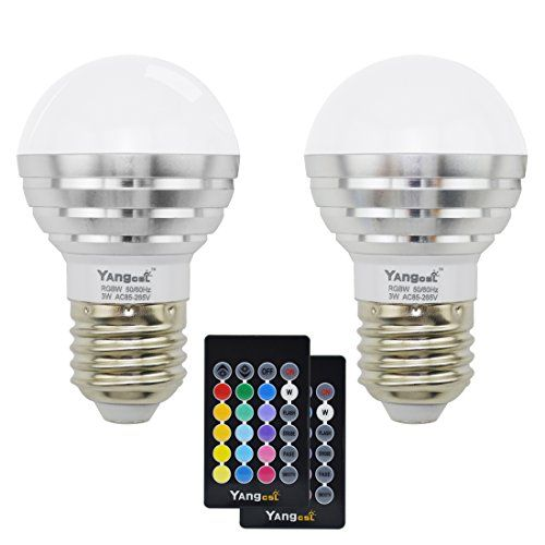 Yangcsl 3W RGB LED Light Bulb Color Changing and Warm White Dimmable with Remote ControlRGBW Pack of 2