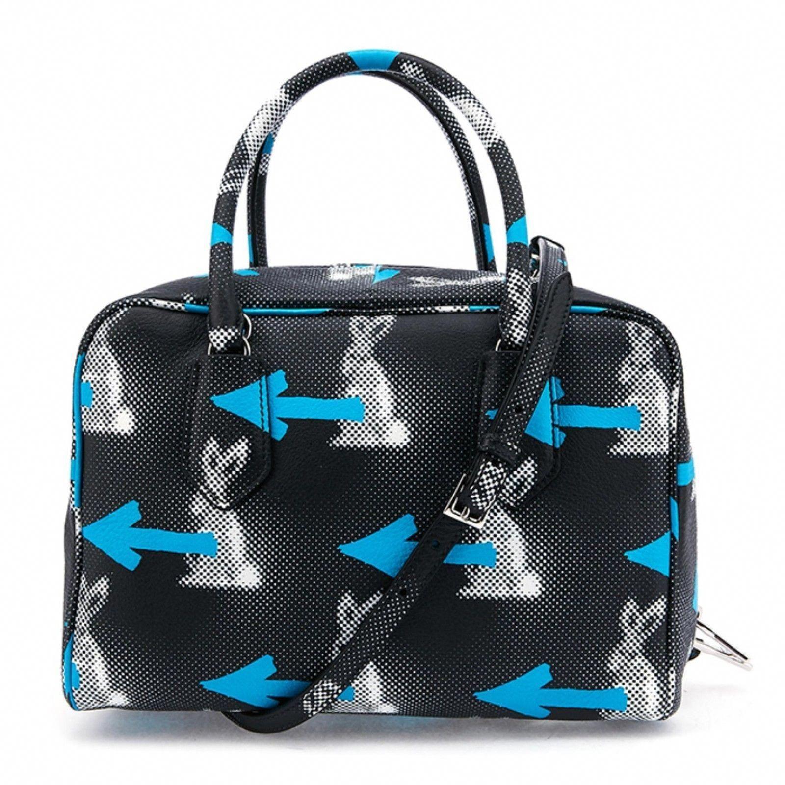 New RARE Authentic Prada Daino St. Rabbits Inside Bag Black Blue Purse   2995.0   4e730f1d98